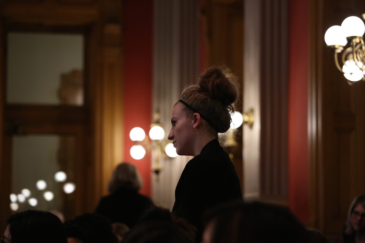 Mackenzie Orr stands to ask representatives about pressing issues during Capitol Hill Press Day. The intent of the field trip was to provide the chance to gain insight to the inner workings of the Colorado government and pending bills and laws.