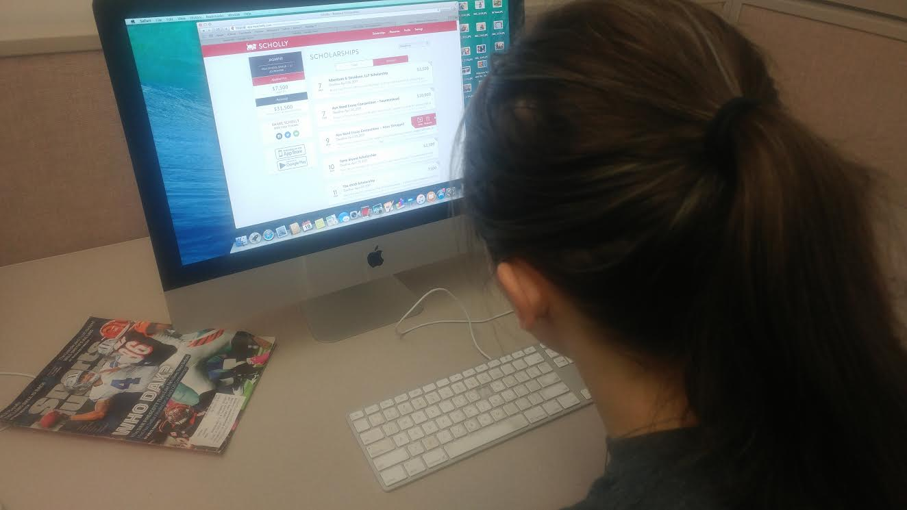 A student searches Scholly for financial aid to assist her in college. Scholly was an app created to promote mounds on money waiting to be won towards a college education.