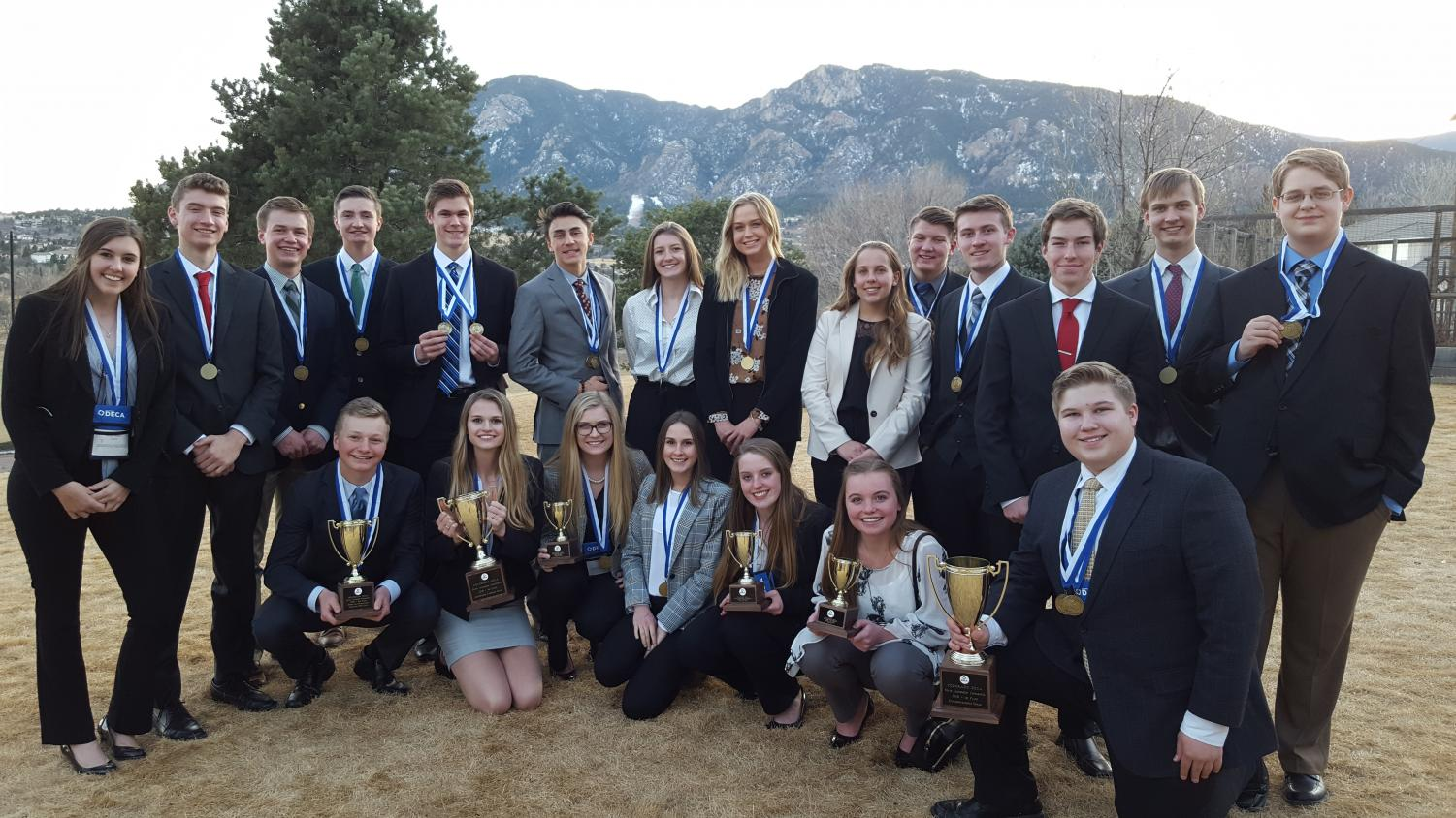 DECA students gather to show off their awards at the conclusion of State competition at the Broadmoor Hotel in Colorado Springs.  Students competed for four days, February 24 - 27.