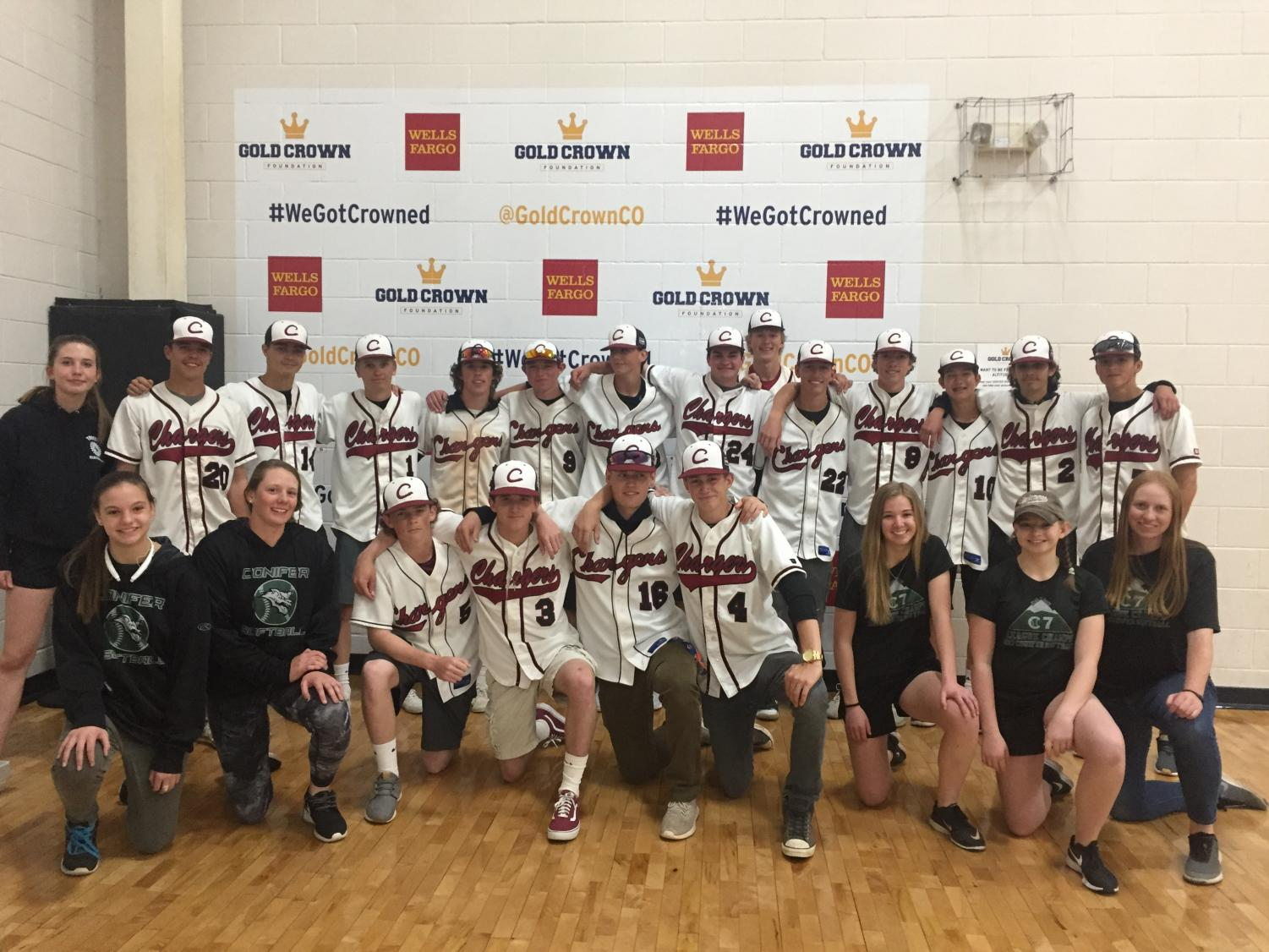 The six Conifer softball players with the Chatfield baseball team after a day of fun day at Gold Crown helping the Jeffco middle school special education students.