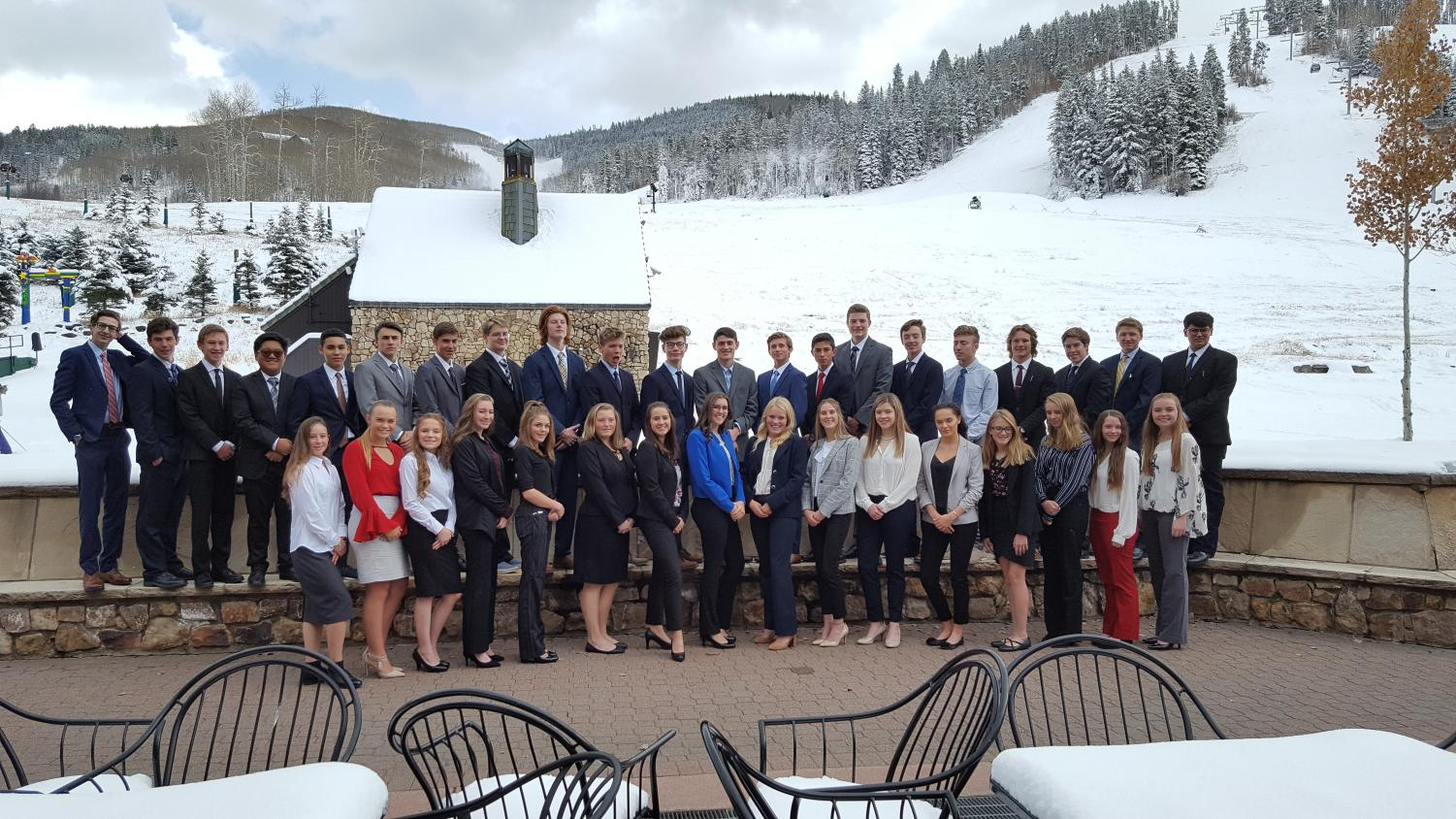 The Conifer DECA Chapter takes time from their busy competition schedule at Beaver Creek to pose for a group photo.