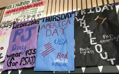 Banners in the commons announce themes for Homecoming Week.