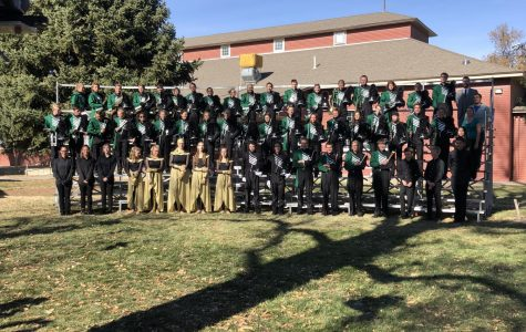 The 2019 Lobo Regiment poses for full-band photos directly after their state semi-finals performance.