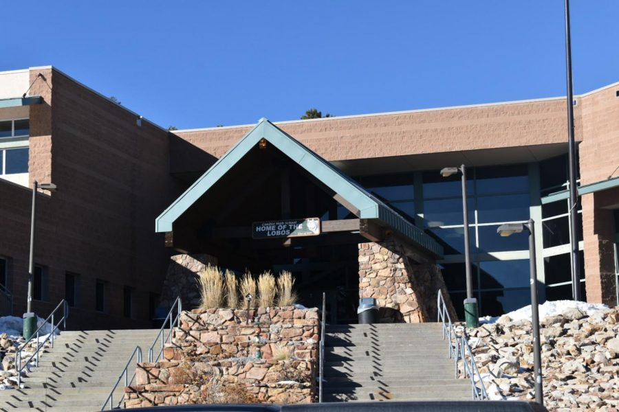 The front entrance to Conifer High School