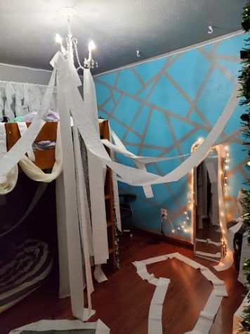 Addie Cutright's room after it was teepeed in a prank war