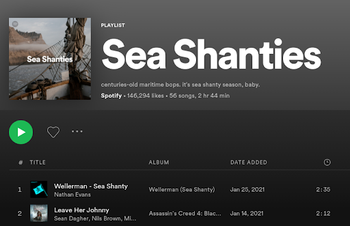 A sea shanty playlist on Spotify