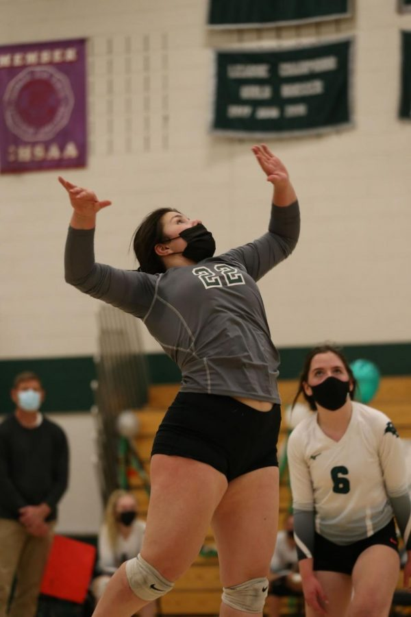 "Junior Marina Cadilli attacks the ball. Conifer played with a strong offense against Alameda. ""To the seniors, I would say thank you,"" Cadilli said. ""We have had so much fun on and off the court. This team is really a family."""