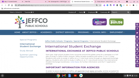 Check out this page to learn more about International Student Exchange through Jeffco Schools.
