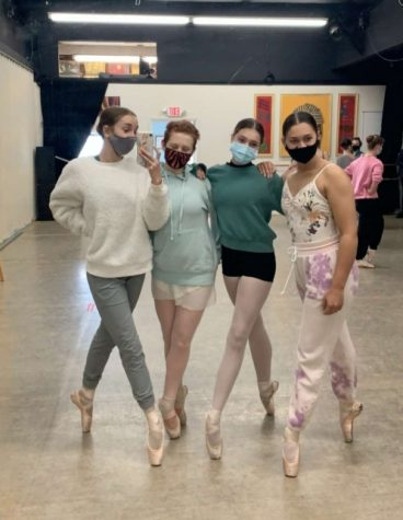 Sophomores Shilah Pless and Autumn Jones are joined by freshman Jade Van Lennep and junior Greanly Phillips during rehearsal for Sleeping Beauty. The show goes on at Peak Academy June 5 & 6.  Tickets are available at: https://www.showclix.com/event/sleeping-beauty-production
