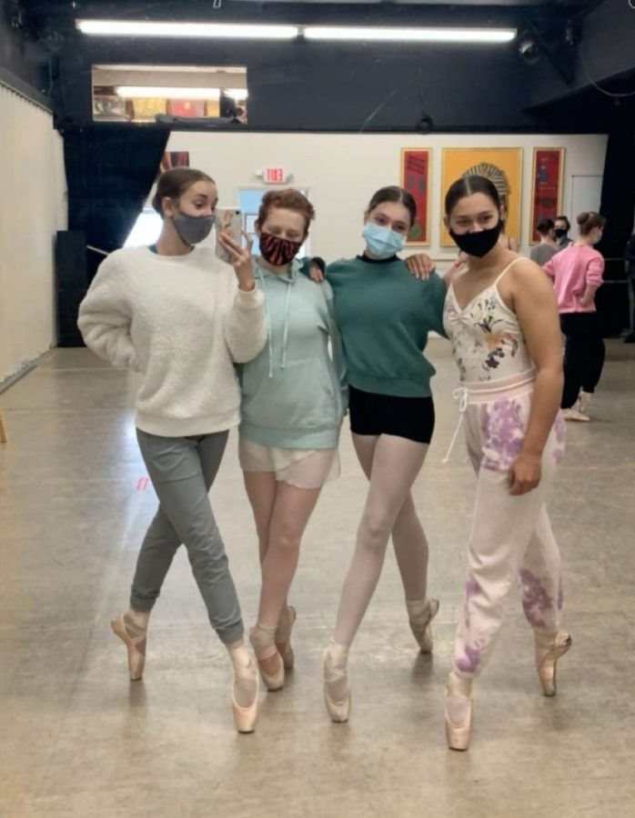 Sophomores+Shilah+Pless+and+Autumn+Jones+are+joined+by+freshman+Jade+Van+Lennep+and+junior+Greanly+Phillips+during+rehearsal+for+Sleeping+Beauty.+The+show+goes+on+at+Peak+Academy+June+5+%26+6.++Tickets+are+available+at%3A+https%3A%2F%2Fwww.showclix.com%2Fevent%2Fsleeping-beauty-production