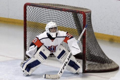 Victor fox plays goalie in his first playoff game.