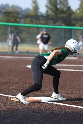 Senior, Ashley Silvernale, preparing to run to second base. Silvernale has been playing for ten years.