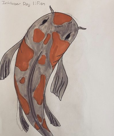 Zoe Watts artwork from the 2020 Inktober prompt, Day 1: Fish.